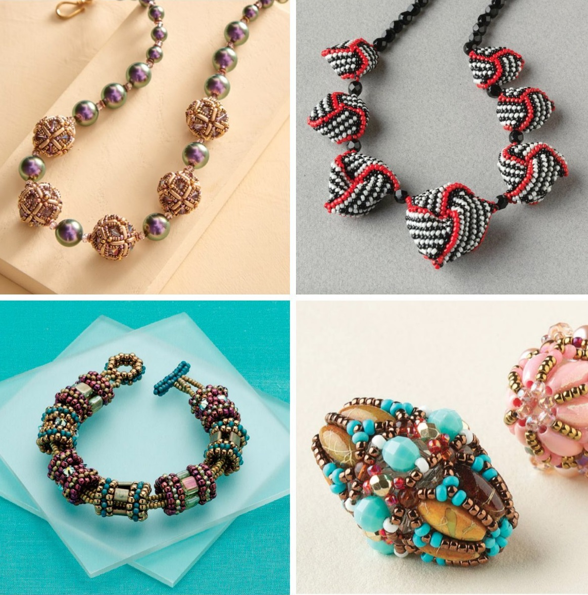Get the eBook 12 Beaded Bead Projects to Make for creative ways to play with dimension. Clockwise from top left: Swirl Beaded Bead Necklace by Diane Fitzgerald, Opulent Octahedron Necklace by Cindy Holsclaw, Carousel Bracelet by Laura Andrews, and Ornamental Beauty Beaded Bead by Maria Teresa Ferreira.