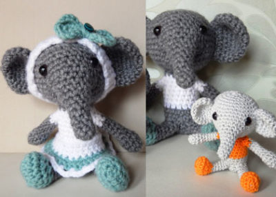 Elephant Jojo crochet ornament pattern.