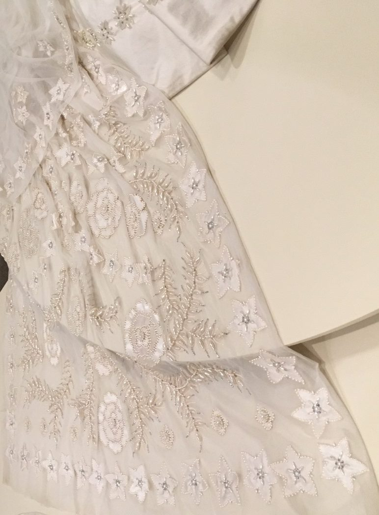 Detail of Elizabeth's wedding dress train; photo: M. White