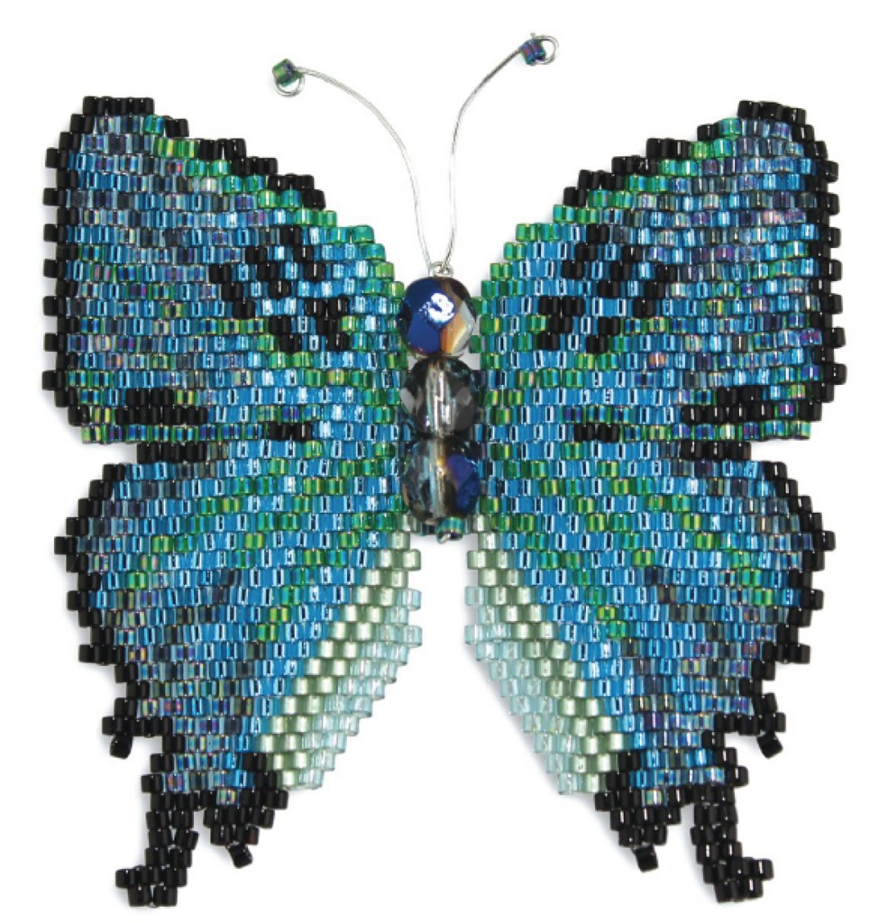 Emerald Swallowtail beaded butterfly, by Karen Parker. Brick stitch, Delica seed beads