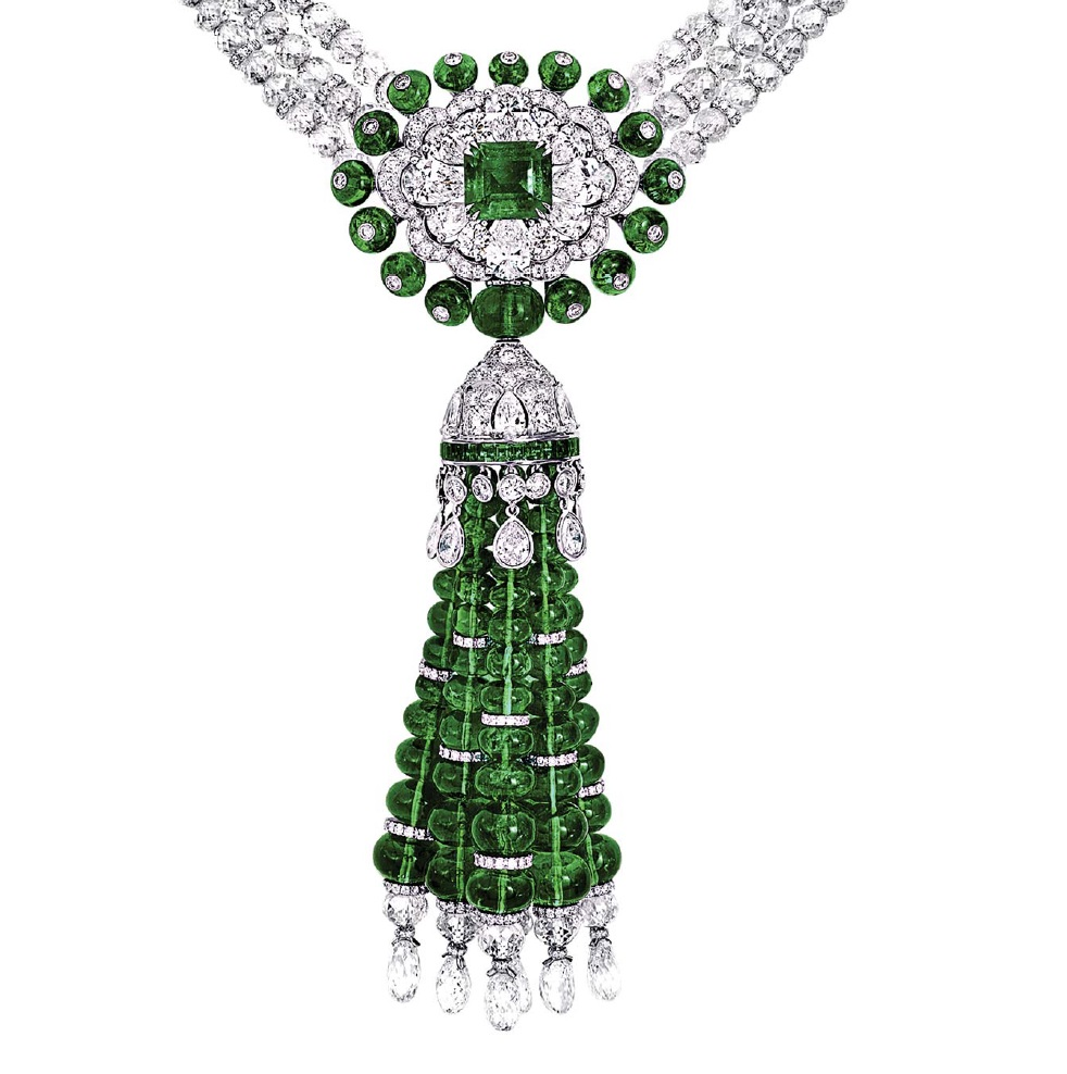 emerald and diamond bead necklace by Graff from Gemstones by Judith Crowe