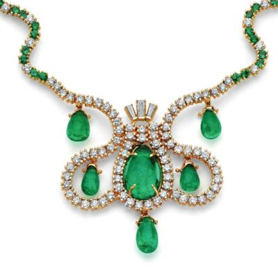 """Part of Manuel Marcial de Gomar's emerald collection, The Empress of Spain Necklace includes a 9.48ct. teardrop emerald, five briolette teardrop emeralds (12.76 cts), cat's-eye emeralds (2.03 cts.), round brilliant tapered baguette diamonds, and 18K and 14K gold. The man and his collection are featured in """"Emerald Encounters."""""""