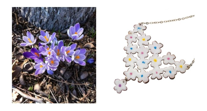 Tania McIntyre's enameled bib necklace offers a hint of color in the center of every white blossom.