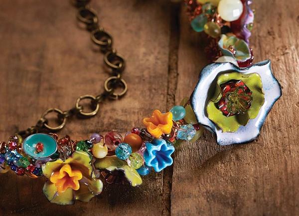 make faux lampwork glass flower head pins