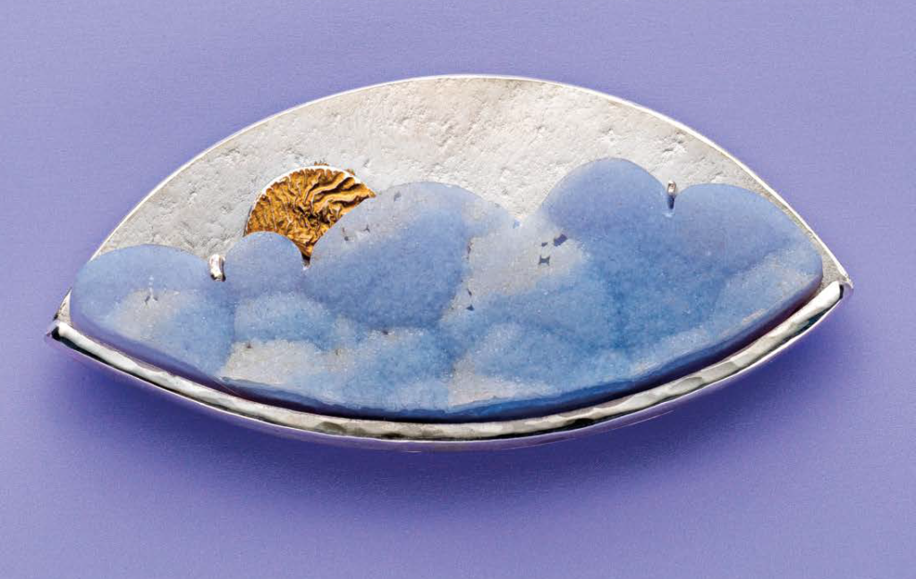 Blue Cloud Drusy Pendant by Lexi Erickson, July 2017 Lapidary Journal Jewelry Artist; photo: Jim Lawson