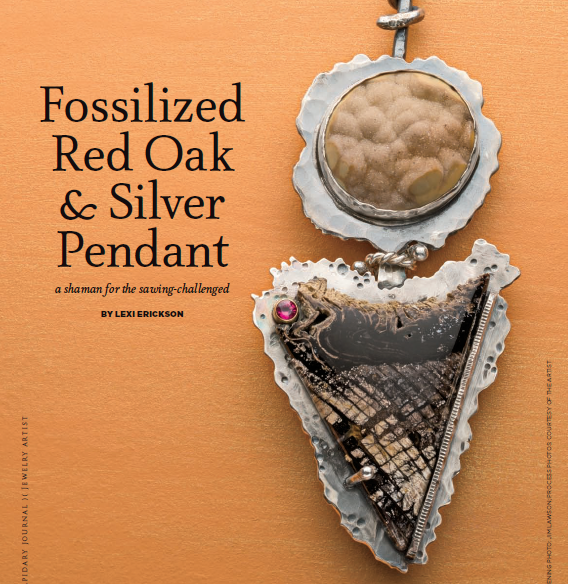 In her Fossilized Red Oak and Silver Pendant, Lexi Erickson features a shaman; Lapidary Journal Jewelry Artist, April 2012; photo: Jim Lawson