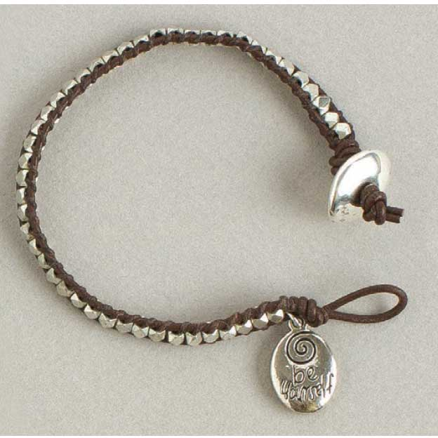 Leather wrapped pewter bracelet by Erin Siegel as seen in Create Leather Jewelry eBook by Beadwork magazine