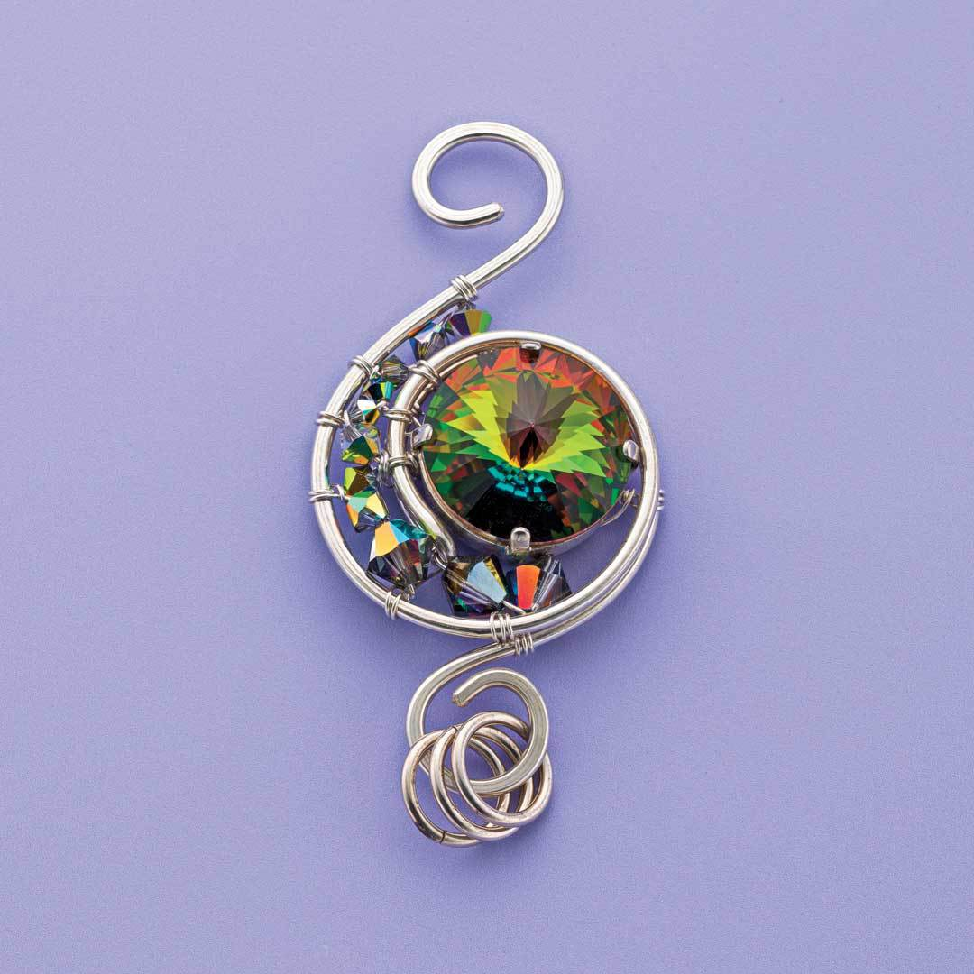 Eye of the Hurricane Crystal and Wire Pendant by Bobbi Maw