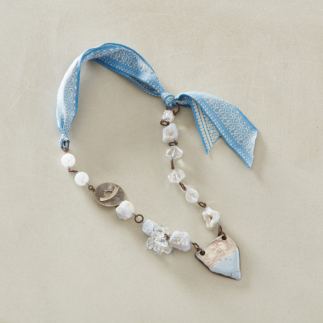 Michelle McEnroe's Stormy Weather Necklace using rough gemstones