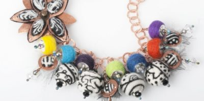 Needle felted beads, by Tammy Honaman. copper sheet, wool roving, copper chain, torch-fired enameled clasp, torch-fired enameled headpins, Swarovski crystal beads