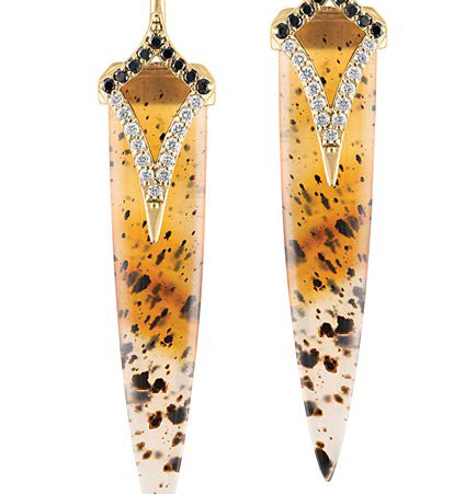 In Trends, GiGi Ferranti shows these leopard agate earrings accented with black and white diamonds and 14K gold to complement the Pantone Spring color forecast; photo: courtesy Jewelers of America