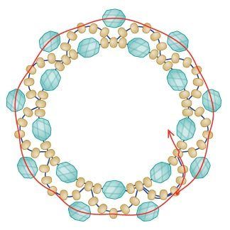 Fig. 3: Adding the beads that will form the inside of the ring