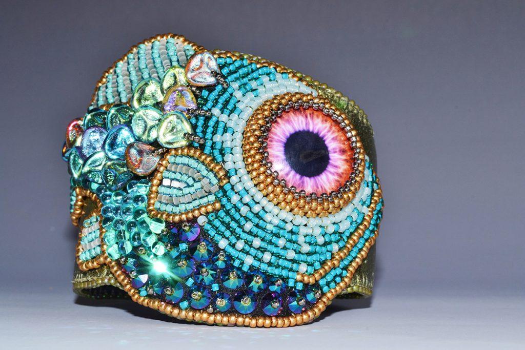 Creative Bead Embroidery 1 and 2 with Kinga Nichols. Fish Cuff by Kinga Nichols