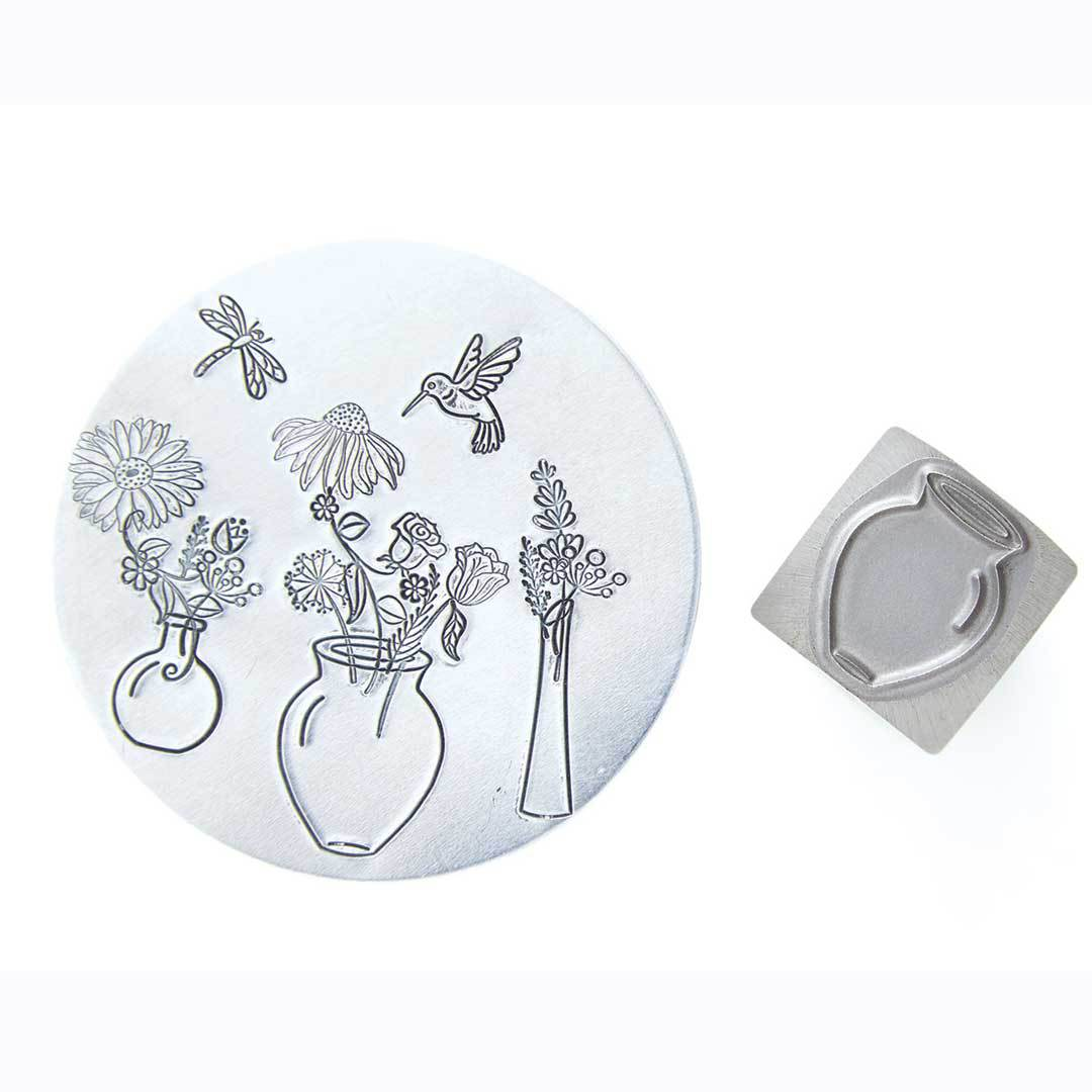 Tall and Wide Classic Flower Vase metal design stamp