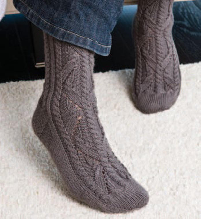 Flying Trapeze knitted sock pattern.