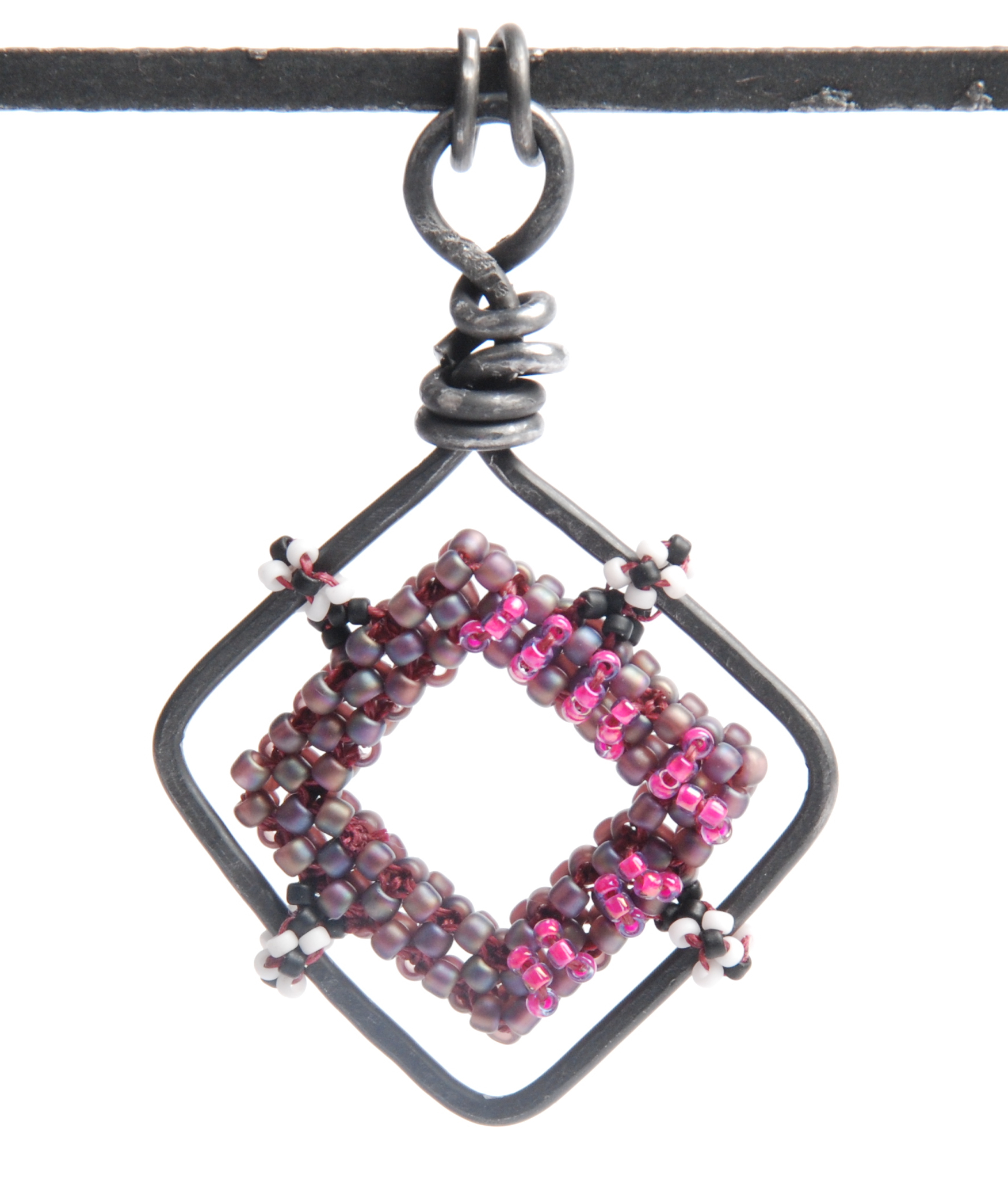 Wire framed cubic right-angle weave open square, by Tammy Honaman