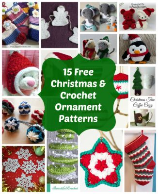 15 free crochet Christmas ornaments and holiday patterns.
