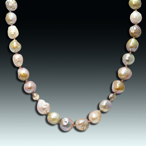 This colorful strand of out-of-round, nubbly-surfaced pearls is an elegant strand of worry beads you'd never be tired of wearing. Knotted to prevent loss and damage. Photo by Matthew Arden, courtesy Eve J. Alfillé Gallery and Studio Evanston, Illinois.