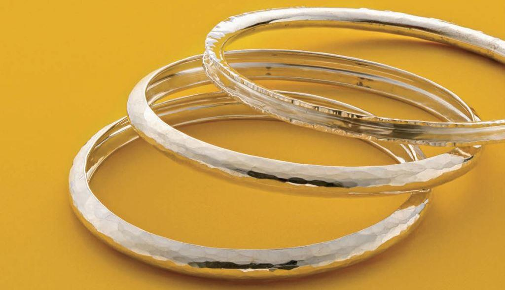 Intended for stacking, these Hammer Formed Fine Silver Bangles were originally published in Lapidary Journal Jewelry Artist January/February 2016. Photo: Jim Lawson
