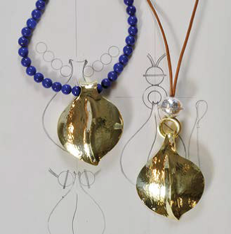"""Look at Bill's drawings for the two designs. """"Each starts with a basic freeform leaf. One interprets this form as a single-sided pendant with variously shaped beads at the top. The other piece is folded over to form a large, hollow bead."""