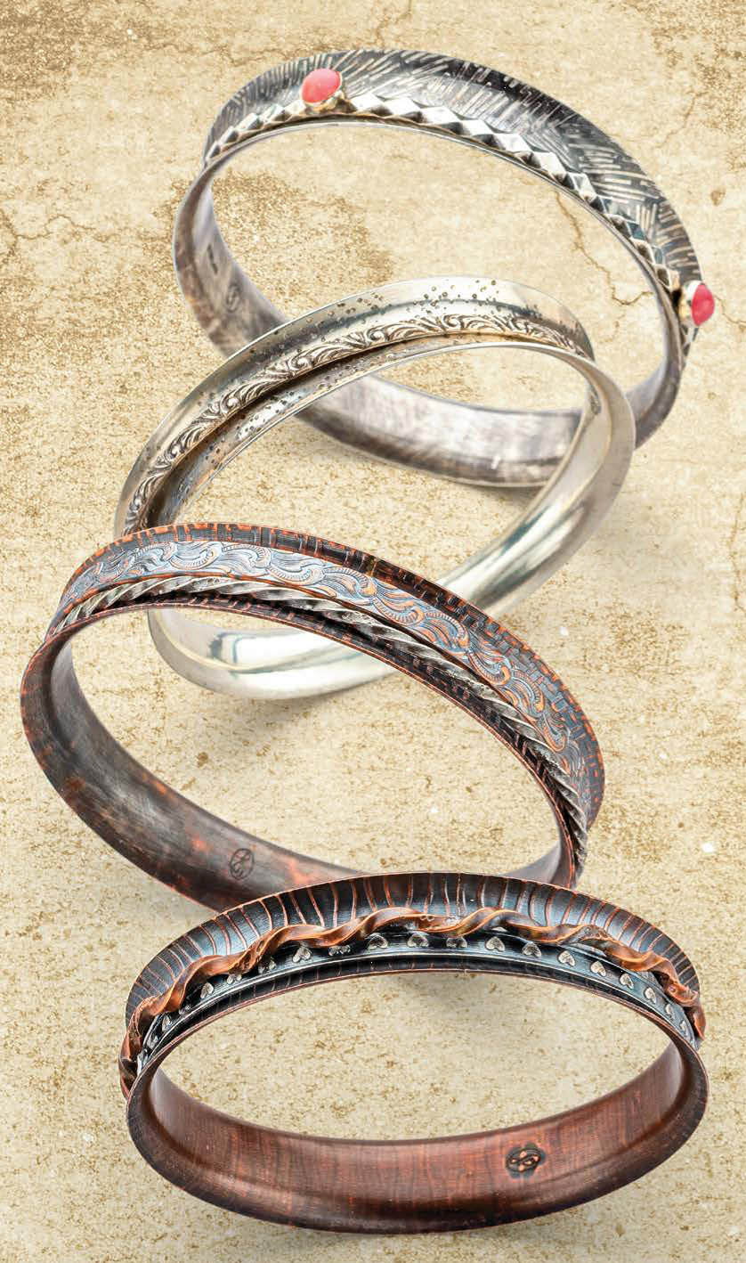 """""""Put a Spin on It"""" by Jeff Fulkerson. The project demonstrates the use of a new spinner bangle tool, aka anticlastic forming discs jewelry artist"""