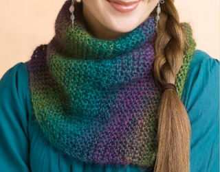 Perfect beginner knitting pattern that includes a rainbow cowl knitting pattern idea with the garter stitch and self-striping yarn from Interweave.