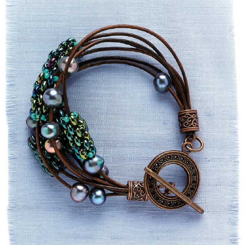 Leather jewelry-making project from Create Leather Jewelry eBook by Leslie Mangine
