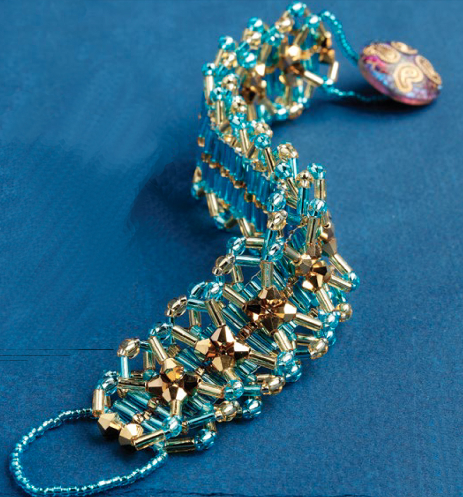 beading patterns, bugle beads, Stitching with Shaped Beads: 10 Beading Projects to Make with Bugle Beads, Gilded Lattice, Katherine Schwartzenberger