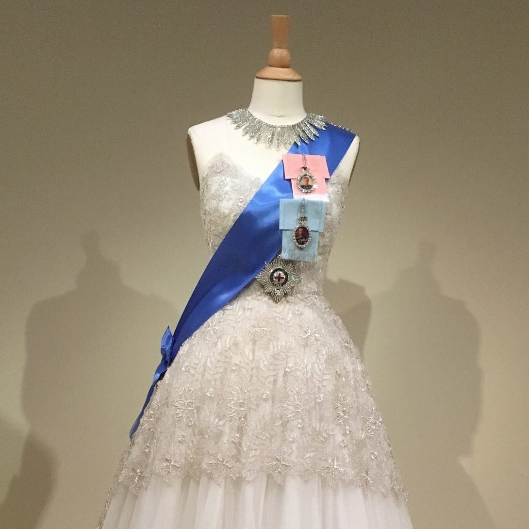 Gown, Order of the Garter insignia and family orders pinned to sash, and Russian style necklace replicas; photo: M. White
