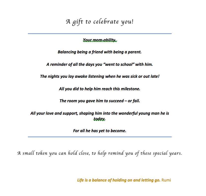 Metalsmithing: Quick & Easy Jewelry Gifts Celebrating Milestones. Sentiment for card; celebrating moms.