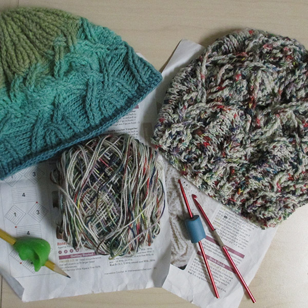 both the modified honeysuckle crochet hat and the original