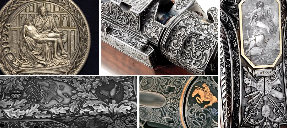 Hand-engraving designs by masters. Top row, L to R: engraved coin by Steve Adams, engraved gun by Alain Lovenberg. Bottom row, L to R: two engraved gun designs by Weldon Lister. Vertical image on right: detail of photo-like engraving by Alain Lovenberg.
