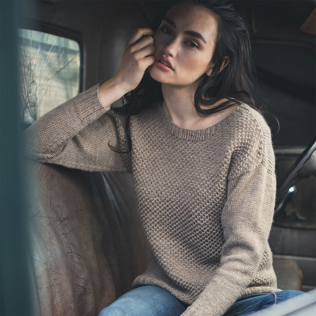 The original Harvey Pullover, published in <em>Interweave Knits</em> Fall 2016.