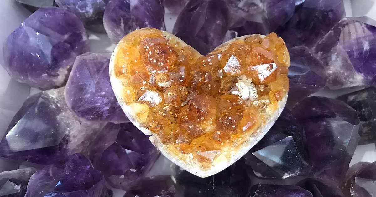 citrine heart geode