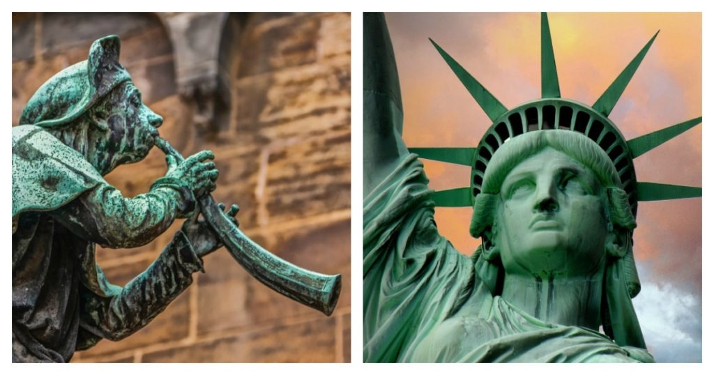 Copper, brass, and bronze acquire a beautiful verdigris patina over time, giving it a distinct feel.