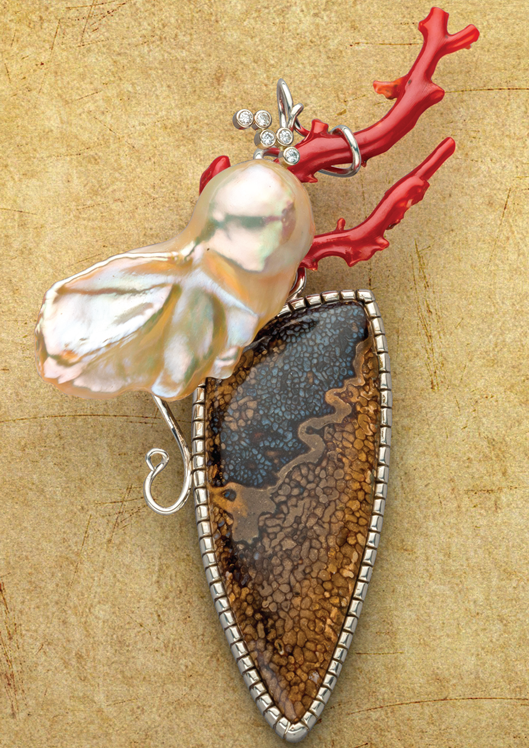 John F. Heusler's Ocean Voyage pendant project appears in Lapidary Journal Jewelry Artist January/February 2018. Photo: Jim Lawson