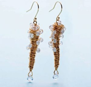 The Champagne Flutes is a jewelry earring design found in our free eBook on wire-wrapping crystals.