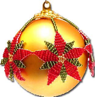 Beaded poinsettia holiday ornament