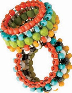 Hoopla!, right-angle weave and brick stitch rings, by Beth Kraft