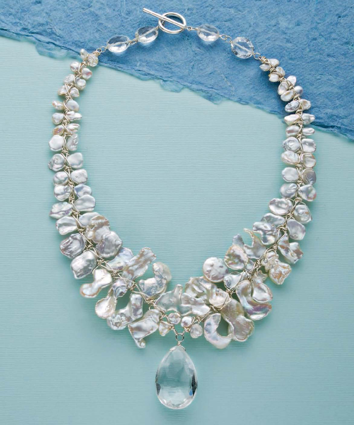 Learn how to make a pearl and crystal necklace in this free handmade bridal jewelry and other wedding jewelry ideas eBook!