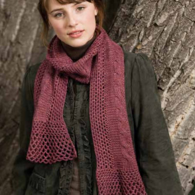 The Lacy Cables Scarf is a knitting and crochet scarf pattern found in our free Knitting and Crochet Patterns eBook.