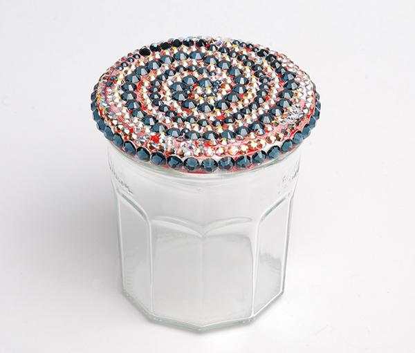 Glass jelly jar with some Swarovski flatbacks glued onto the lid