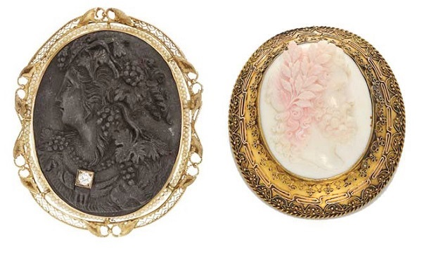 carved jet and shell cameos with seed pearls