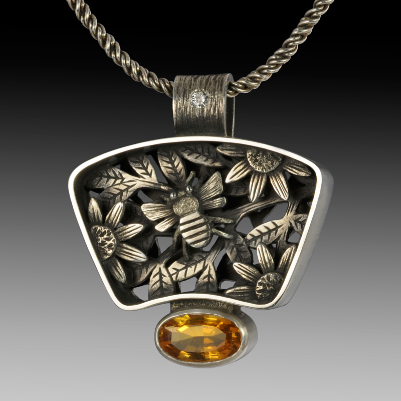 "jewelry trends:"" Bee and Sunflower Pendant designed by Suzanne Williams"