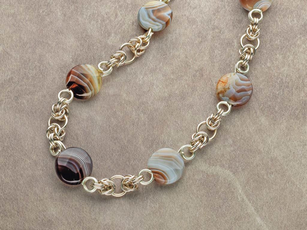 handmade jewelry gifts: For this necklace, Kylie Jones focused on the strong patterning in the Botswana agate beads. Photo: Jim Lawson