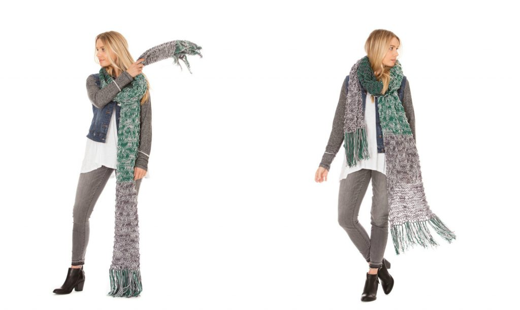 Katharine Knitted Super Scarf knits up quick in bulky yarn or worsted yarn