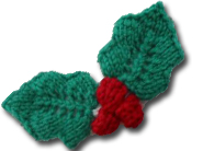 Knitted holly leaves.