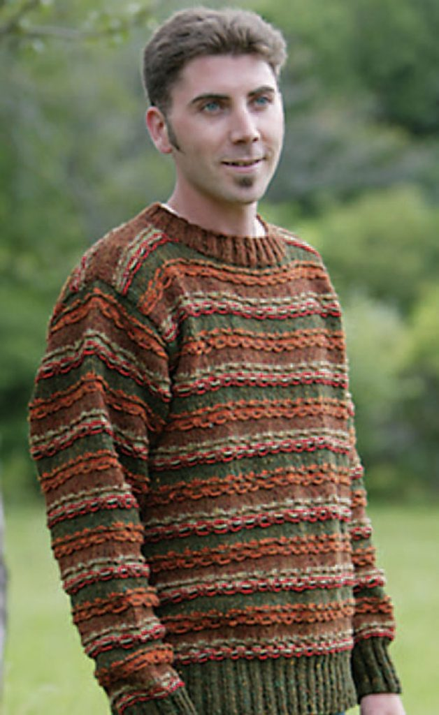 Create this striped knitted pullover in this free knitting for men eBook.