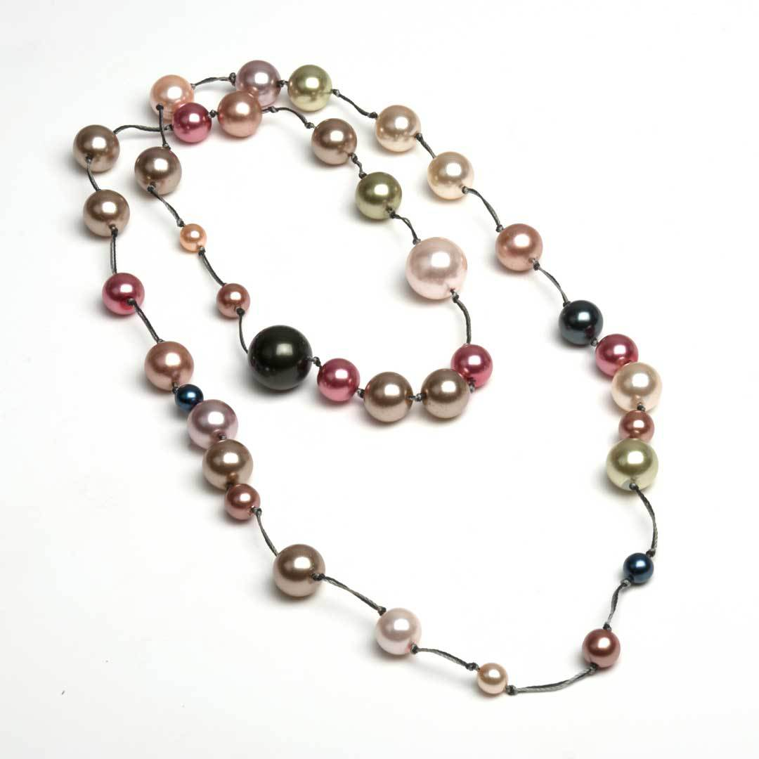 knotted pearl necklace tin-cup style