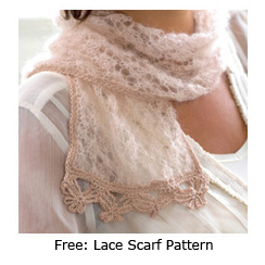 Free Pattern Lace Scarf From Feminine Knits Interweave